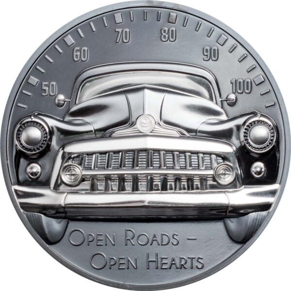 CLASSIC CAR – OPEN ROADS 2021 Cook Islands 2oz black proof silver coin