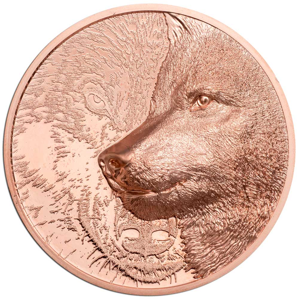 MYSTIC WOLF 2021 Mongolia 50g high relief copper coin