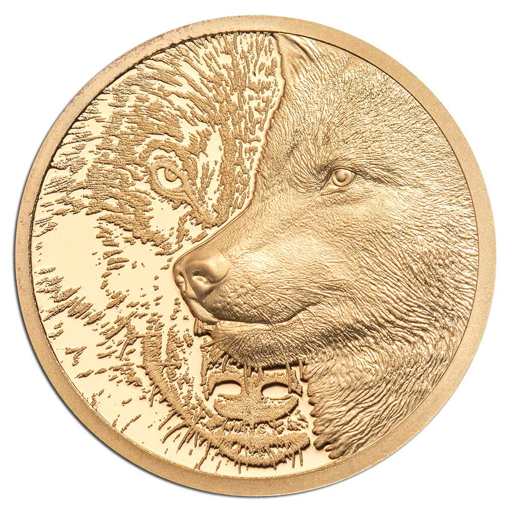 MYSTIC WOLF 2021 Mongolia 1/10th oz proof gold coin