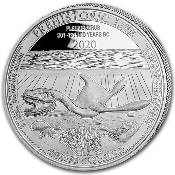 PREHISTORIC LIFE: PLESIOSAURUS 2020 Congo 1oz .999 BU silver coin