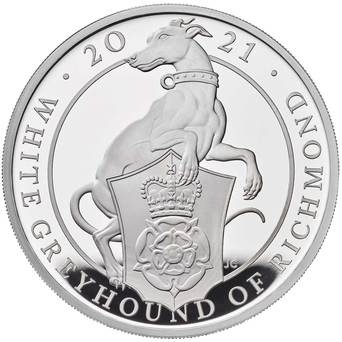 QUEENS BEASTS: THE WHITE GREYHOUND OF RICHMOND 2021 United Kingdom 1oz silver coin