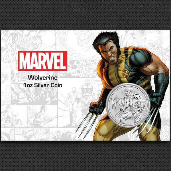 MARVEL: WOLVERINE 2021 Tuvalu 1oz silver bullion coin in card