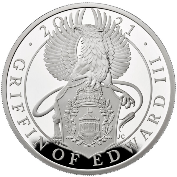 QUEENS BEASTS: THE GRIFFIN OF EDWARD III 2021 United Kingdom 1oz silver coin