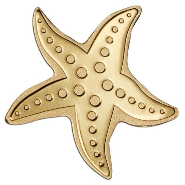 GOLDEN STARFISH - Palau 0.5g .9999 gold coin