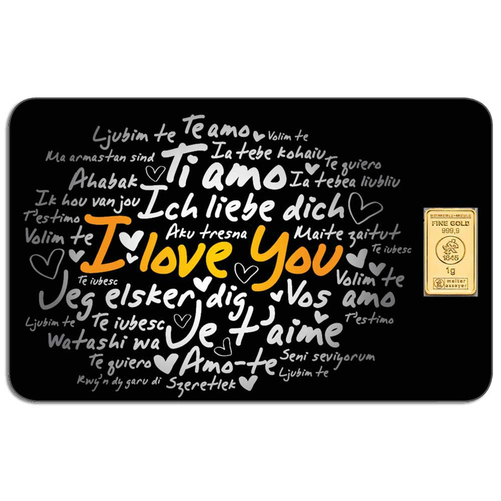 I LOVE YOU - 1g .9999 gold bar in card