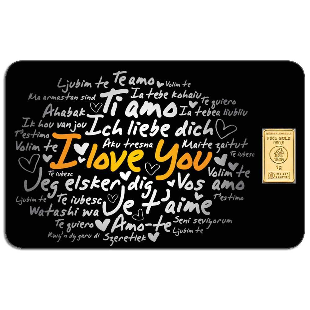I LOVE YOU - 1g .9999 gold bar in card