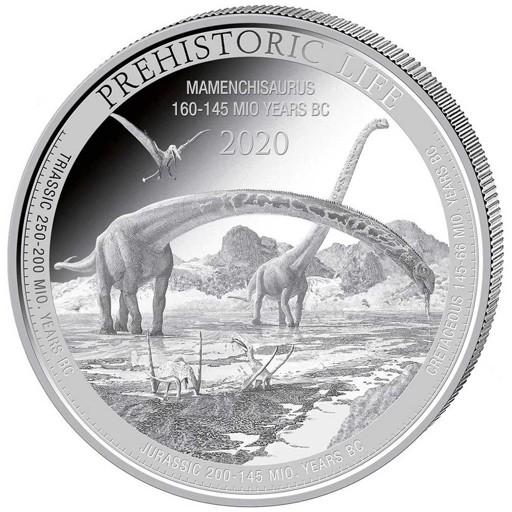 PREHISTORIC LIFE: MAMENCHISAURUS 2020 Congo 1oz .999 BU silver coin