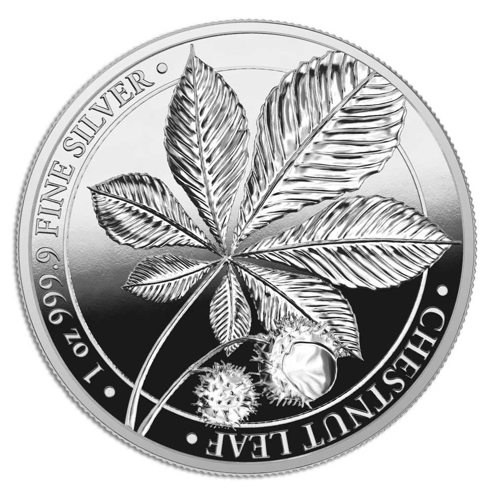 MYTHICAL FOREST: CHESTNUT LEAF - 2021 5 Mark 1oz silver proof