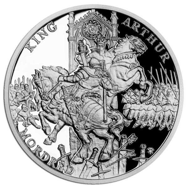 LEGEND OF KING ARTHUR - ARTHUR & MORDRED 2021 Niue 1oz proof silver coin