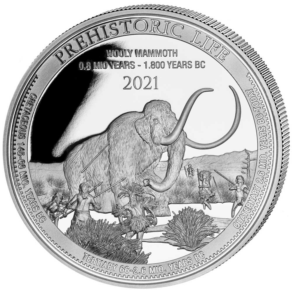 PREHISTORIC LIFE: WOOLY MAMMOTH 2021 Congo 1oz .999 BU silver coin