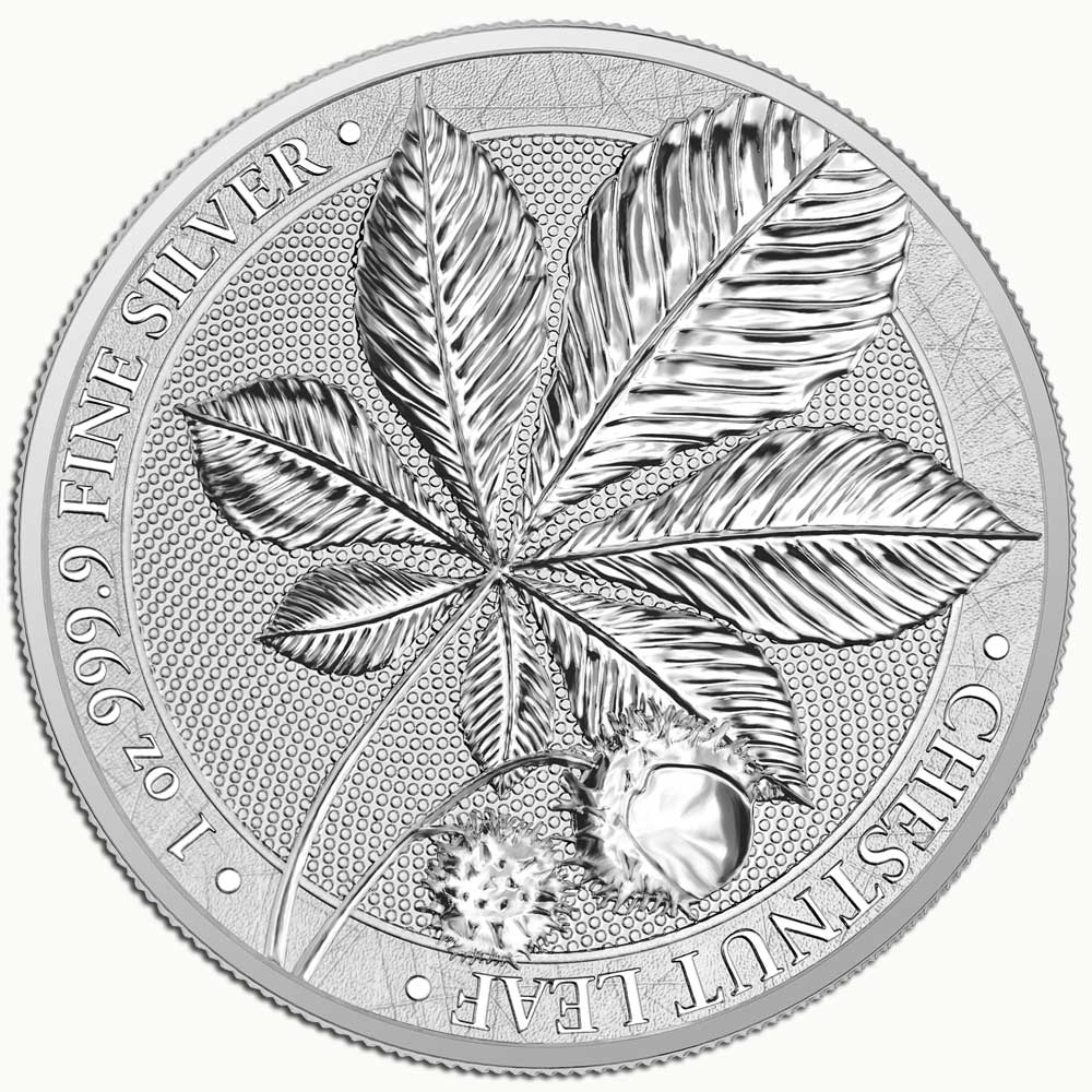 MYTHICAL FOREST: CHESTNUT LEAF - 2021 5 Mark 1oz silver BU