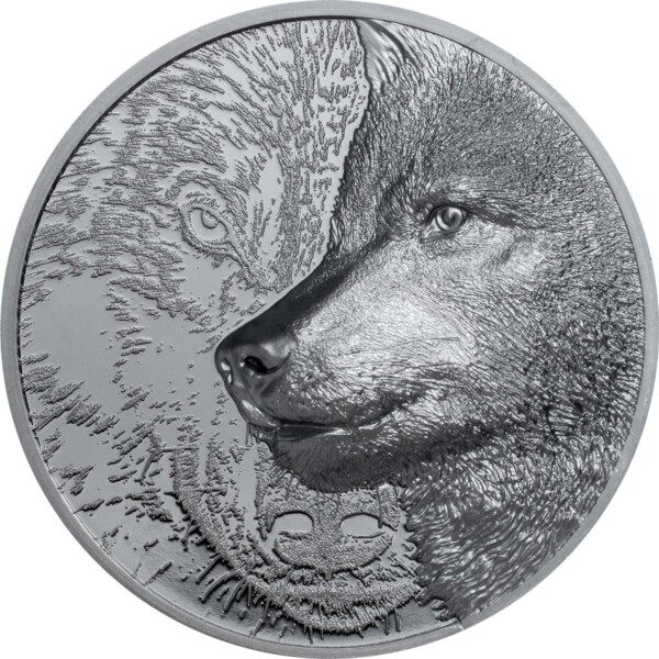 MYSTIC WOLF 2021 Mongolia 2oz silver black proof coin