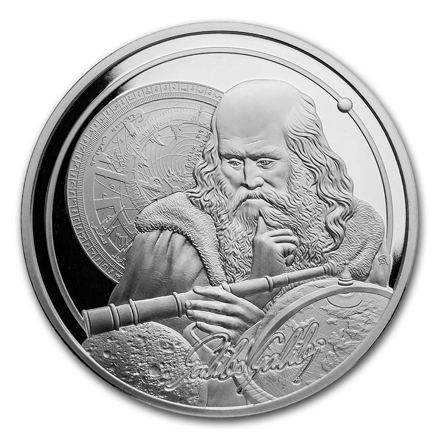 ICONS OF INSPIRATION: GALILEO 2021 Niue 1oz .999 BU silver coin
