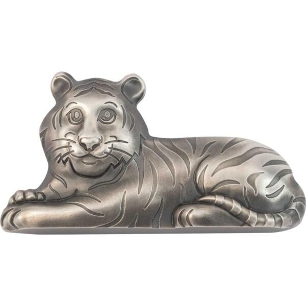 CHARMING SILVER TIGER - 2022 Mongolia 1oz antiqued silver