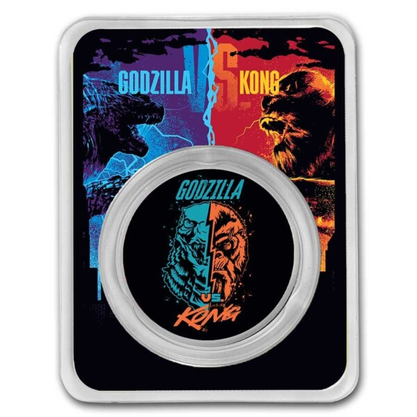GODZILLA VS KONG - FACE OFF: 2021 Niue 1oz .999 coloured silver coin