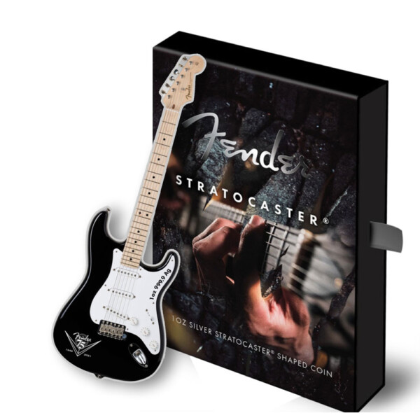 FENDER STRATOCASTER GUITAR 75th anniversary - 2021 Solomon Islands one ounce silver proof coin