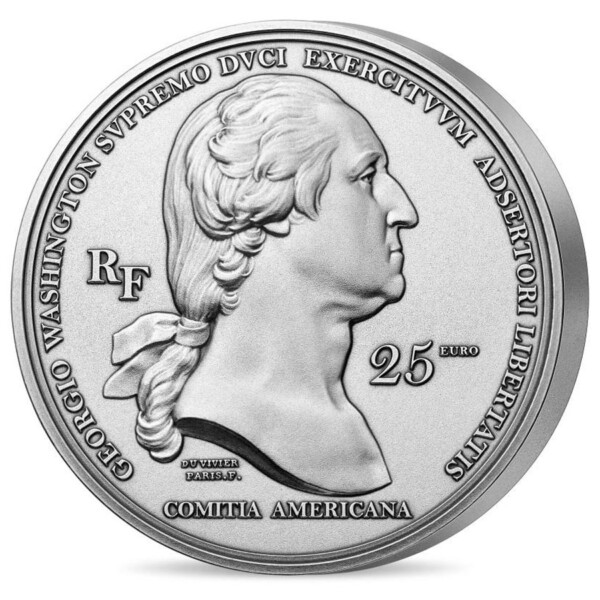 AMERICAN INDEPENDENCE - ARRIVAL OF WASHINGTON IN BOSTON 25€ France High Relief Silver Coin