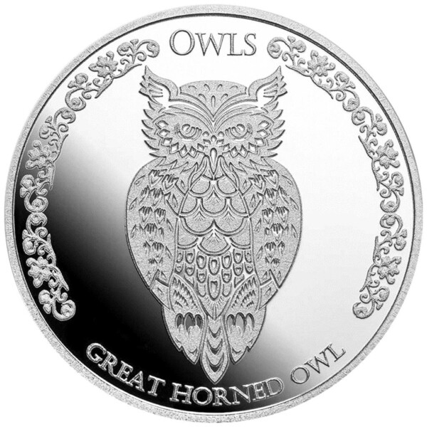 GREAT HORNED OWL: 2021 Tokelau 1oz .999 BU silver coin