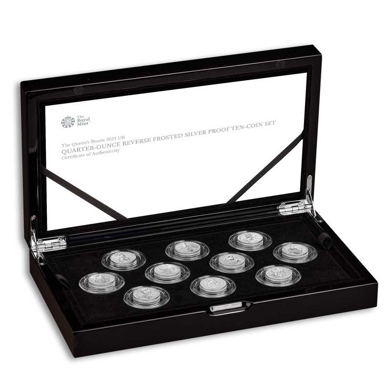 THE QUEEN'S BEASTS 2021 UK Quarter-Ounce Silver Proof Ten-Coin Set