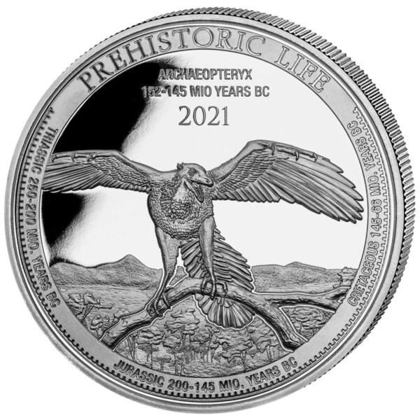 PREHISTORIC LIFE: ARCHAEOPTERYX 2021 Congo 1oz .999 BU silver coin