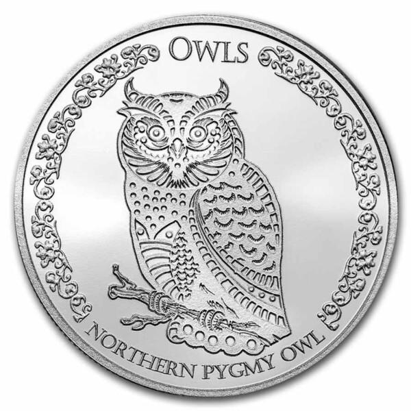 NORTHERN PYGMY OWL: 2021 Tokelau 1oz .999 BU silver coin