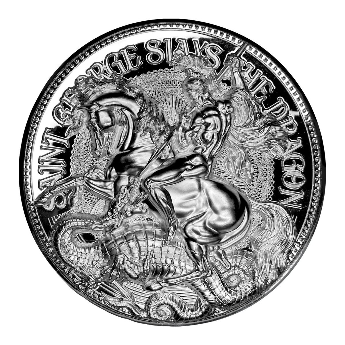 ST GEORGE SLAYS THE DRAGON 2021 Chad 2 Oz .999 Proof Silver Coin