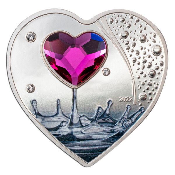 SILVER HEARTS BRILLIANT LOVE 2022 Cook Islands 22g silver proof coin