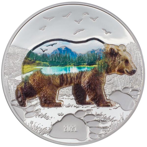 INTO THE WILD - BEAR 2021 Mongolia 2oz proof silver coin
