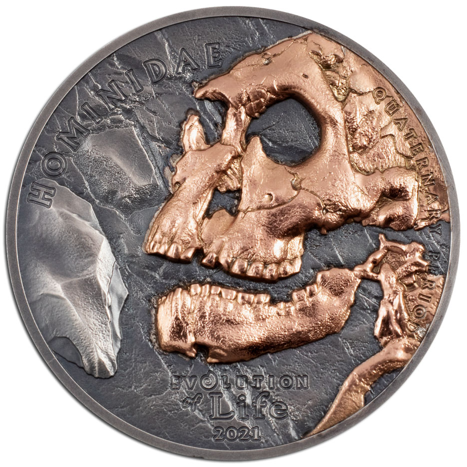 EVOLUTION OF LIFE: HOMINIDE 2021 Mongolia 1oz silver coin