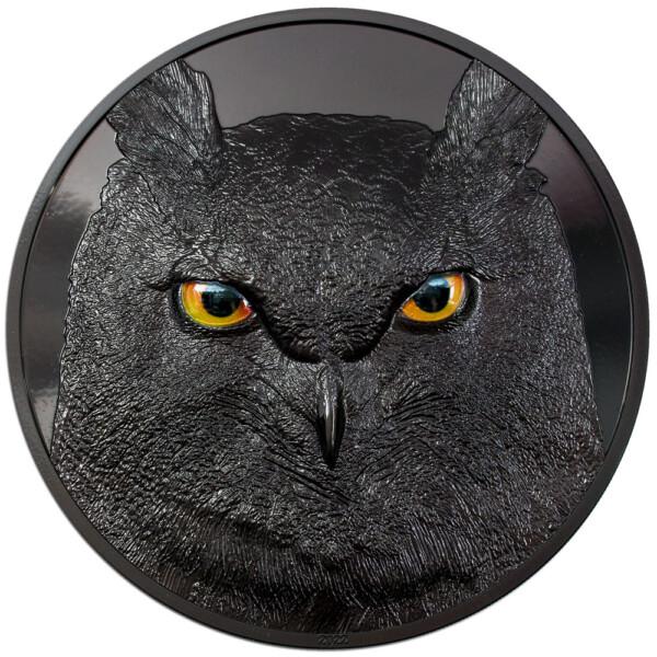 EAGLE OWL – HUNTERS BY NIGHT: 2021 Palau 2oz obsidian black silver coin