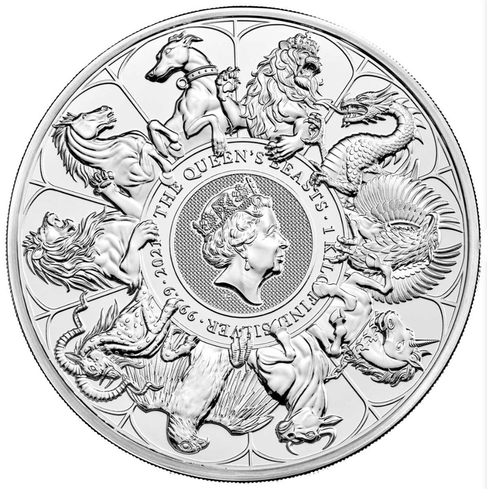 QUEEN'S BEASTS COMPLETER 2021 United Kingdom 2oz silver BU coin