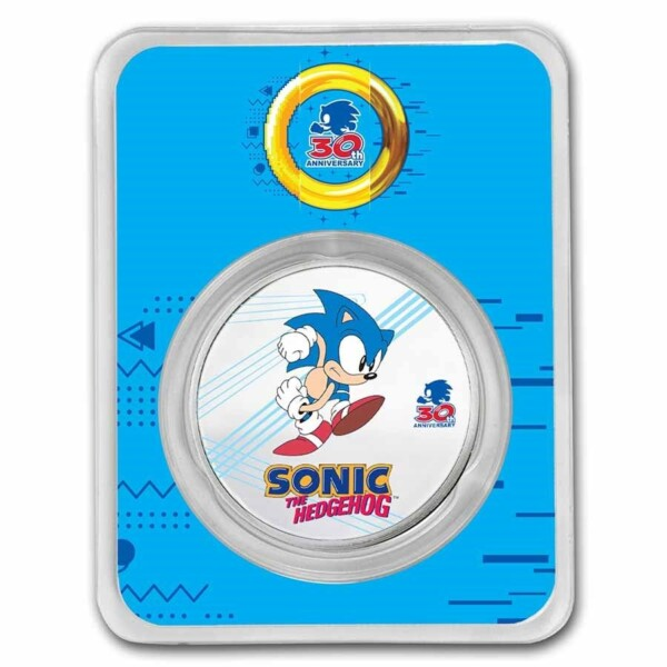 SONIC THE HEDGEHOG™ 30th Anniversary 2021 Niue1oz Silver Colourised Coin