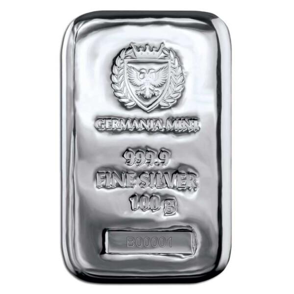 Germania Mint Ag999.9 Cast Bar 100g