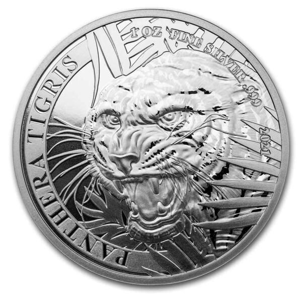 PANTHERA TIGRIS - Laos Tiger 2021 1 oz .999 Silver BU Coin
